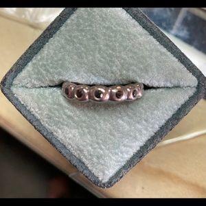 Vintage Sterling Silver Ring with Black Enamel
